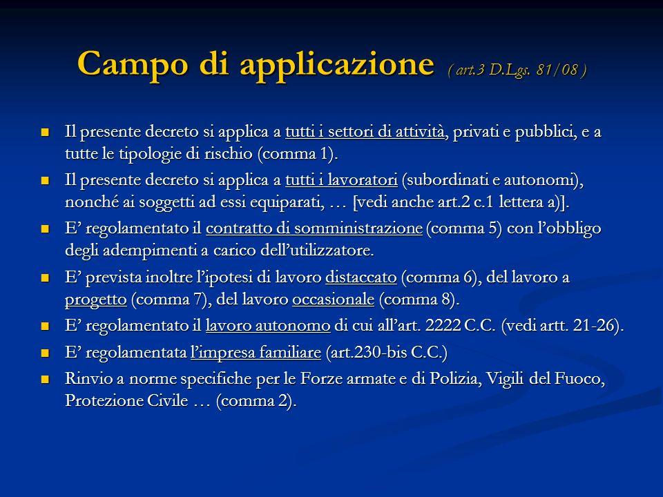 Campo di applicazione ( art.3 D.Lgs. 81/08 ) Il presente decreto si applica a tutti i settori di attività, privati e pubblici, e a tutte le tipologie
