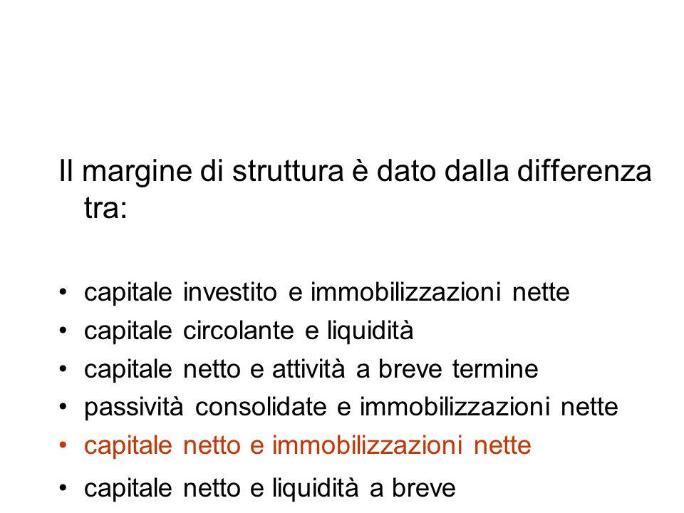 Il margine di struttura è dato dalla differenza tra: capitale investito e immobilizzazioni nette capitale circolante e liquidità capitale netto e attività a breve termine passività consolidate e immobilizzazioni nette capitale netto e immobilizzazioni nette capitale netto e liquidità a breve