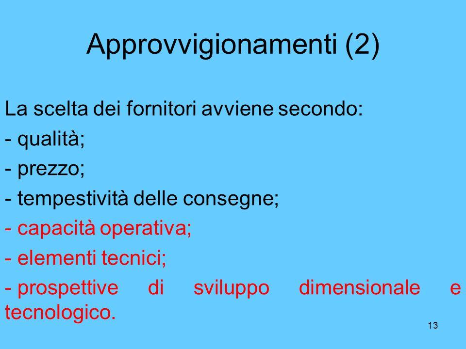13 Approvvigionamenti (2) La scelta dei fornitori avviene secondo: - qualità; - prezzo; - tempestività delle consegne; - capacità operativa; - element