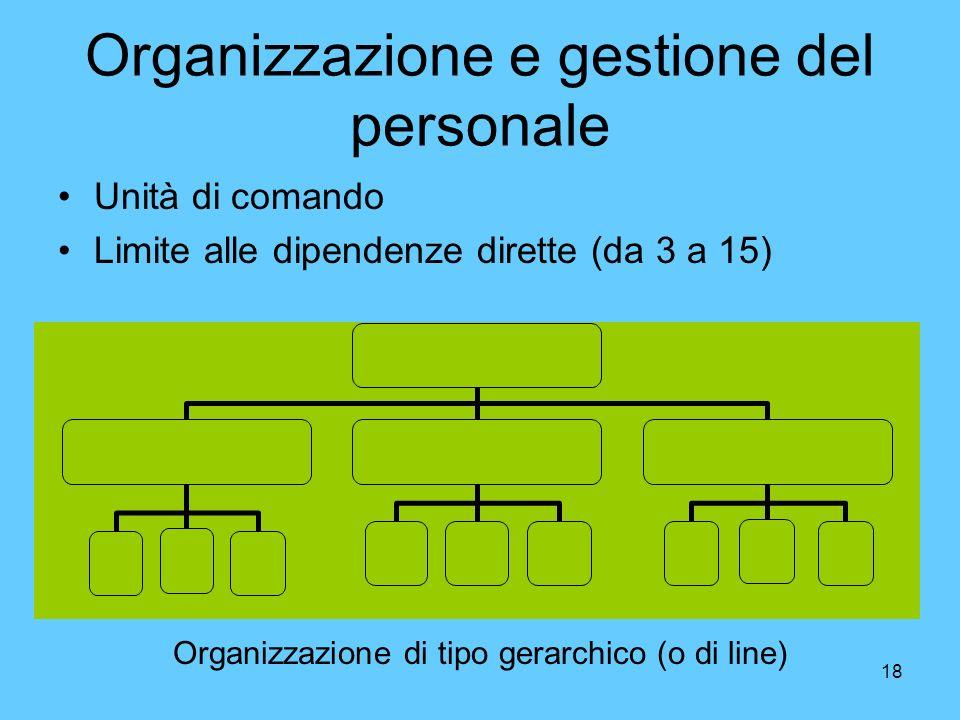 18 Organizzazione e gestione del personale Unità di comando Limite alle dipendenze dirette (da 3 a 15) Organizzazione di tipo gerarchico (o di line)