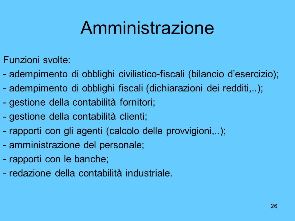 26 Amministrazione Funzioni svolte: - adempimento di obblighi civilistico-fiscali (bilancio desercizio); - adempimento di obblighi fiscali (dichiarazi