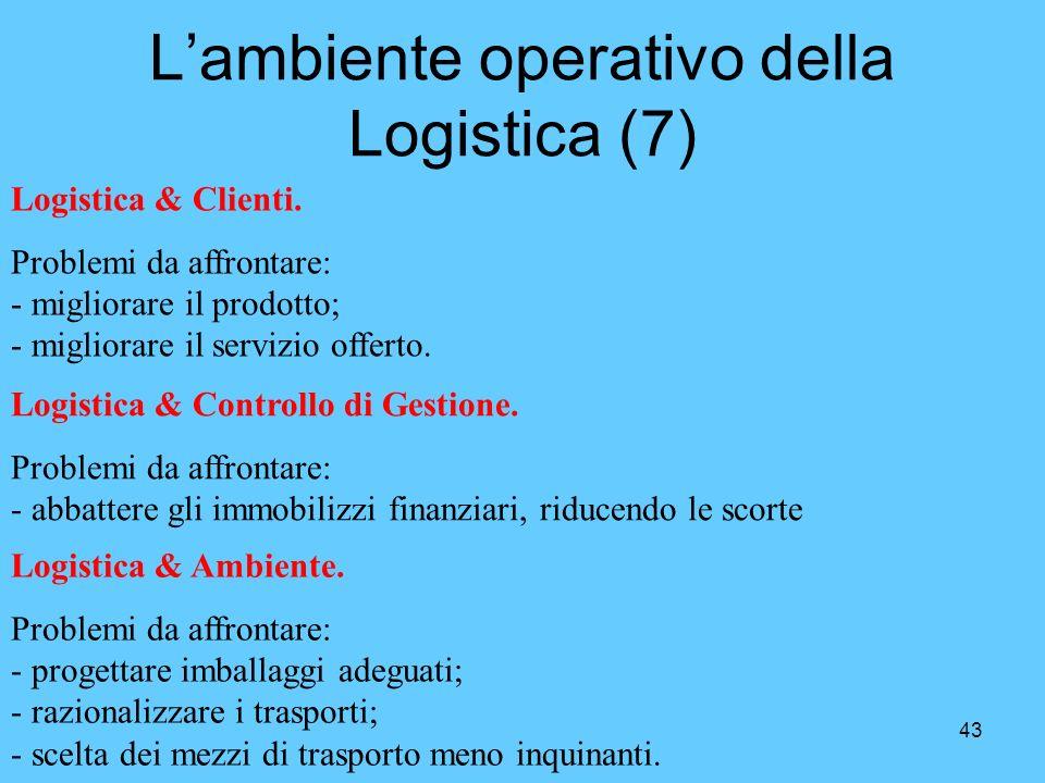 43 Lambiente operativo della Logistica (7) Logistica & Clienti. Problemi da affrontare: - migliorare il prodotto; - migliorare il servizio offerto. Lo