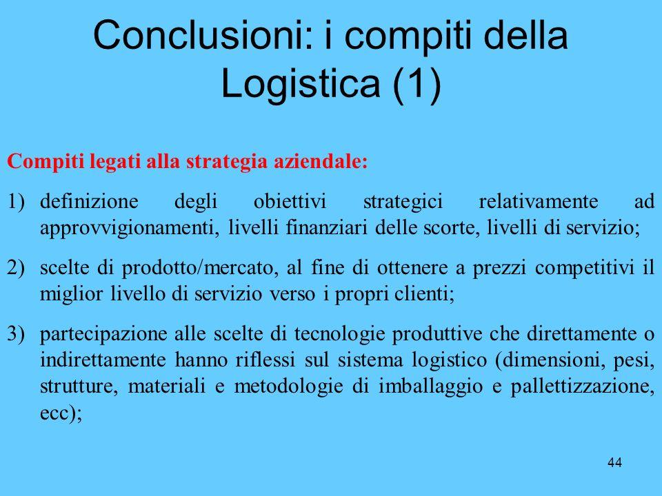 44 Conclusioni: i compiti della Logistica (1) Compiti legati alla strategia aziendale: 1)definizione degli obiettivi strategici relativamente ad appro