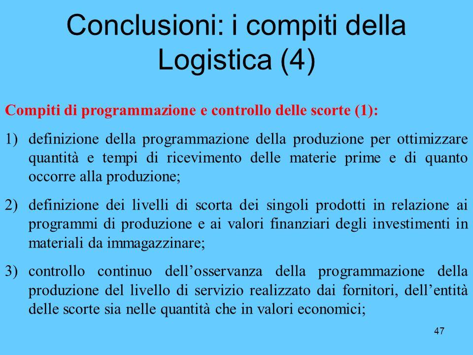47 Conclusioni: i compiti della Logistica (4) Compiti di programmazione e controllo delle scorte (1): 1)definizione della programmazione della produzi