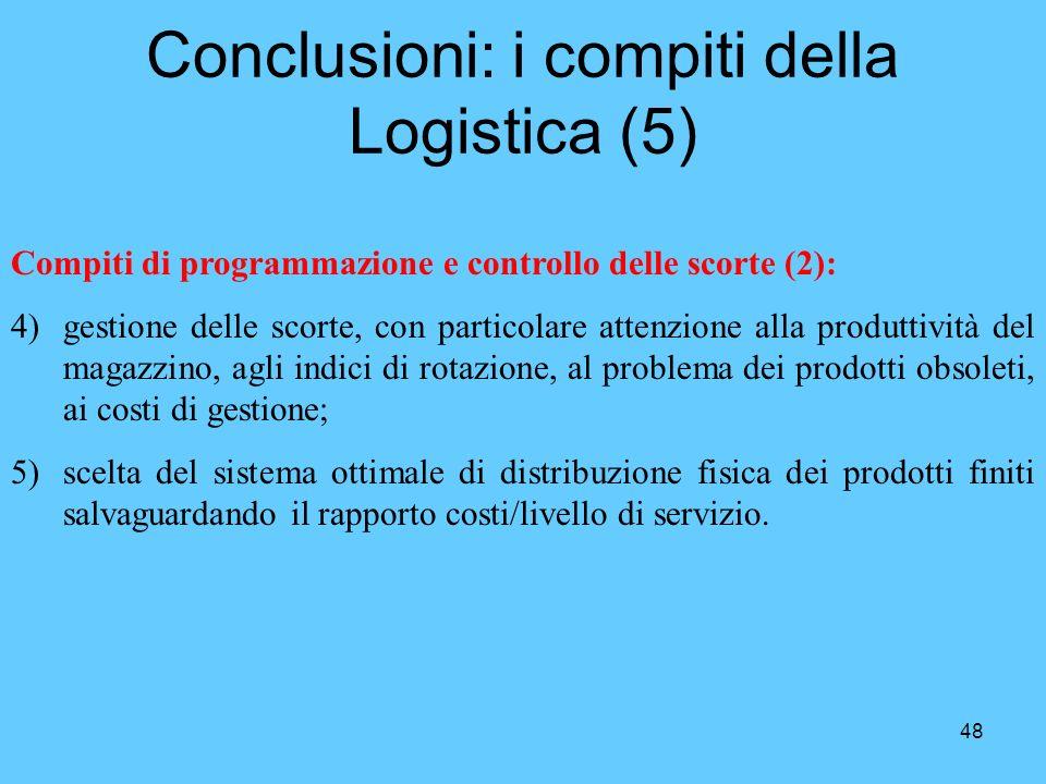 48 Conclusioni: i compiti della Logistica (5) Compiti di programmazione e controllo delle scorte (2): 4)gestione delle scorte, con particolare attenzi
