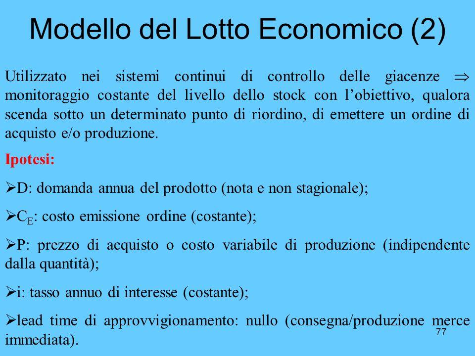 77 Modello del Lotto Economico (2) Utilizzato nei sistemi continui di controllo delle giacenze monitoraggio costante del livello dello stock con lobie