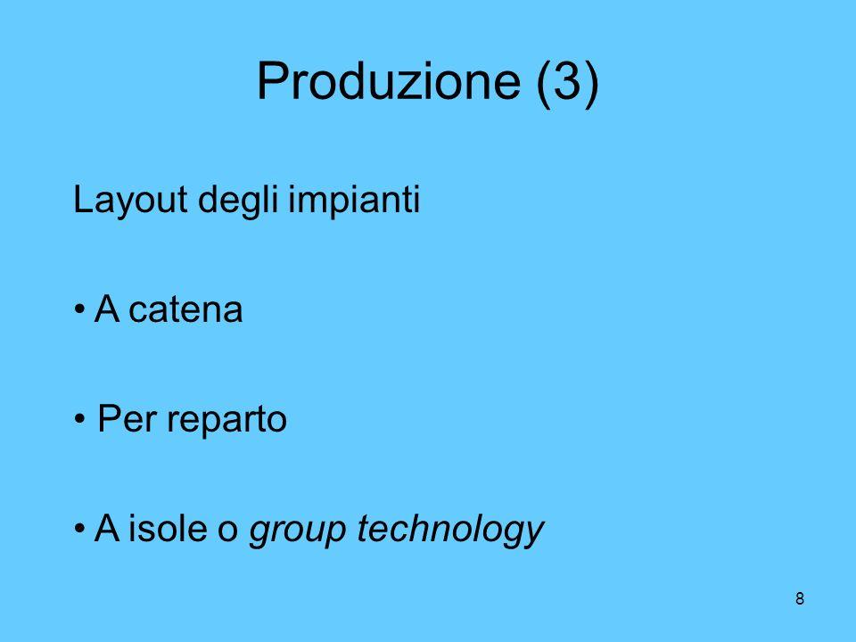 8 Produzione (3) Layout degli impianti A catena Per reparto A isole o group technology