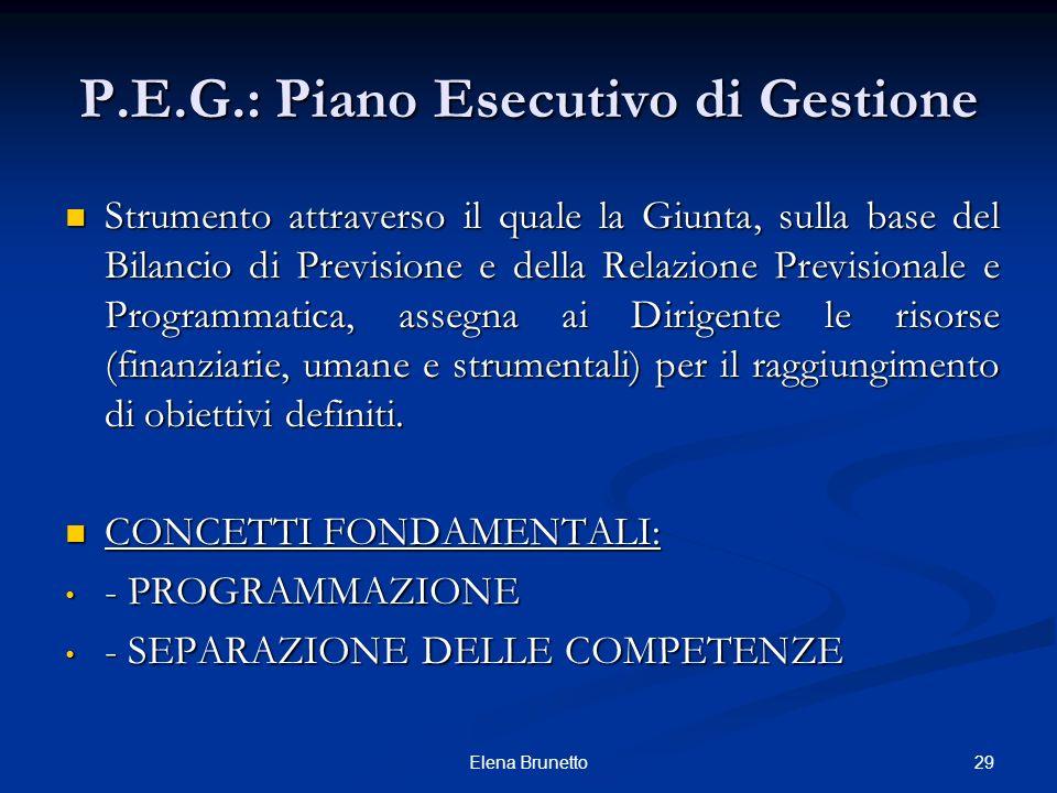 29Elena Brunetto P.E.G.: Piano Esecutivo di Gestione Strumento attraverso il quale la Giunta, sulla base del Bilancio di Previsione e della Relazione