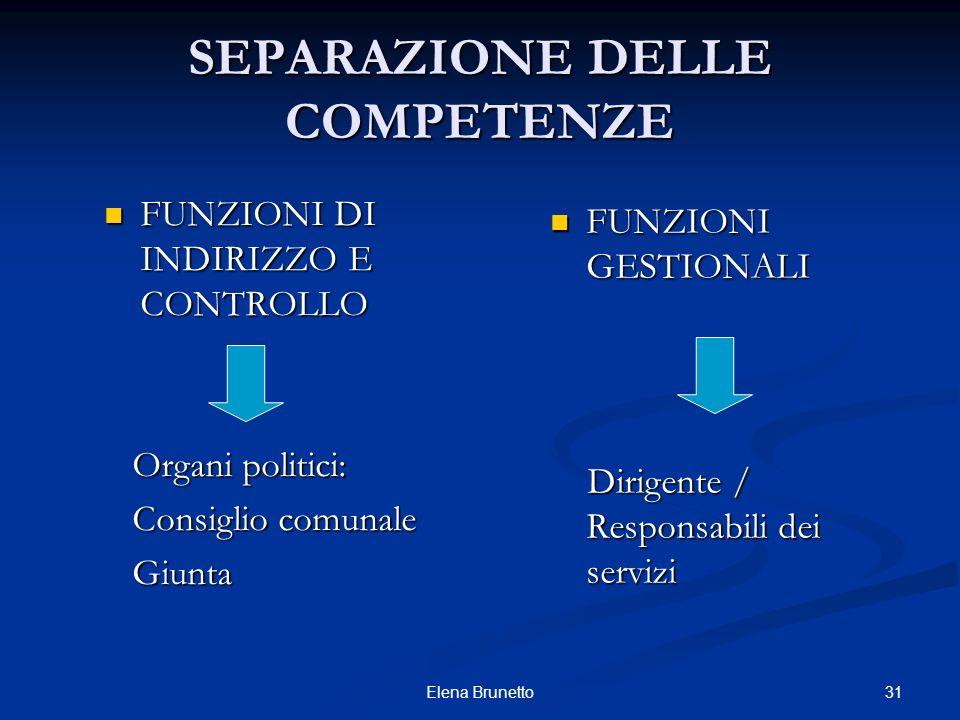 31Elena Brunetto SEPARAZIONE DELLE COMPETENZE FUNZIONI DI INDIRIZZO E CONTROLLO FUNZIONI DI INDIRIZZO E CONTROLLO Organi politici: Organi politici: Co