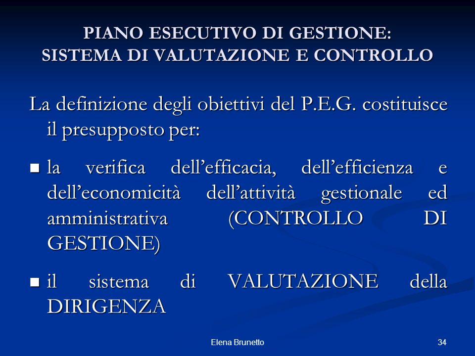 34Elena Brunetto PIANO ESECUTIVO DI GESTIONE: SISTEMA DI VALUTAZIONE E CONTROLLO La definizione degli obiettivi del P.E.G. costituisce il presupposto