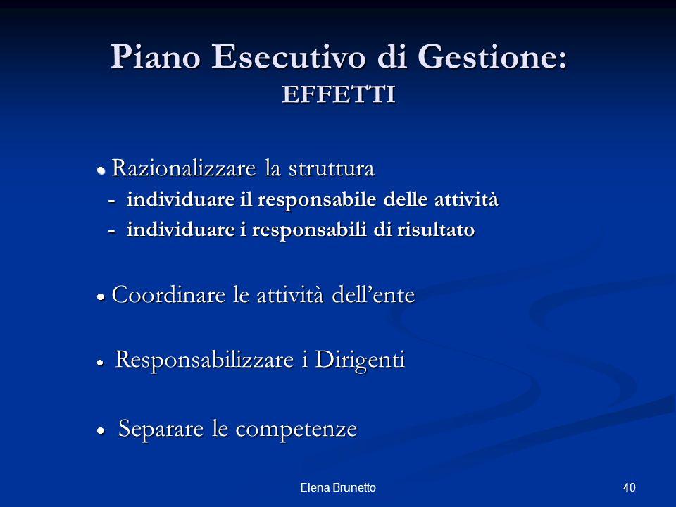 40Elena Brunetto Piano Esecutivo di Gestione: EFFETTI Razionalizzare la struttura Razionalizzare la struttura - individuare il responsabile delle atti