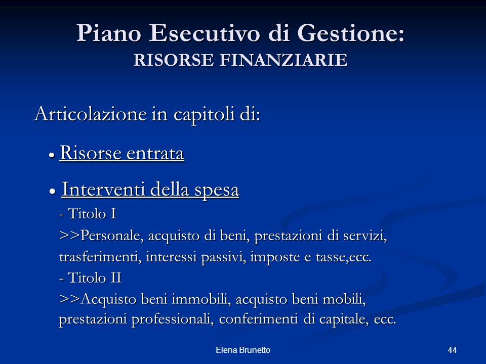 44Elena Brunetto Piano Esecutivo di Gestione: RISORSE FINANZIARIE Articolazione in capitoli di: Risorse entrata Risorse entrata Interventi della spesa