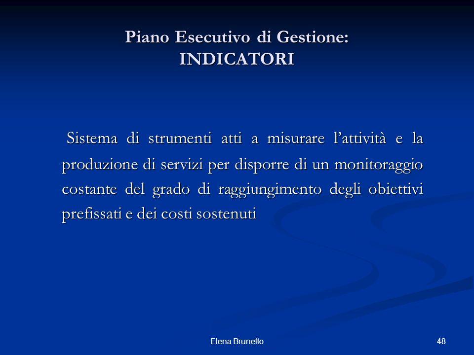 48Elena Brunetto Piano Esecutivo di Gestione: INDICATORI Sistema di strumenti atti a misurare lattività e la produzione di servizi per disporre di un