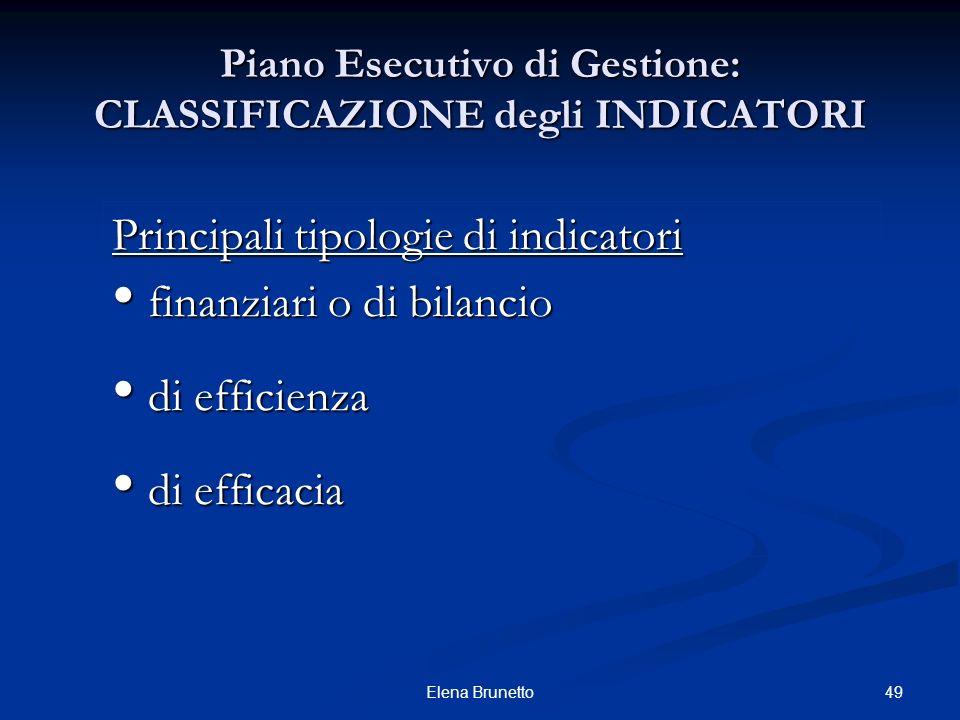 49Elena Brunetto Principali tipologie di indicatori finanziari o di bilancio finanziari o di bilancio di efficienza di efficienza di efficacia di effi