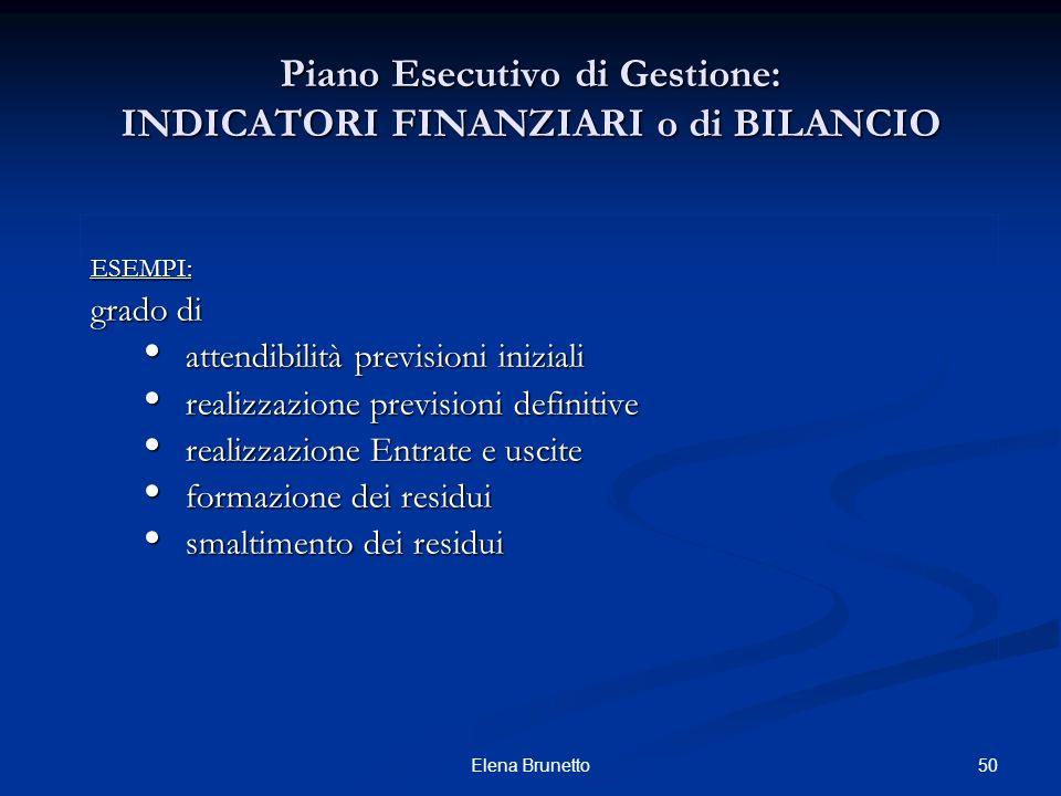 50Elena Brunetto Piano Esecutivo di Gestione: INDICATORI FINANZIARI o di BILANCIO ESEMPI: grado di attendibilità previsioni iniziali attendibilità pre