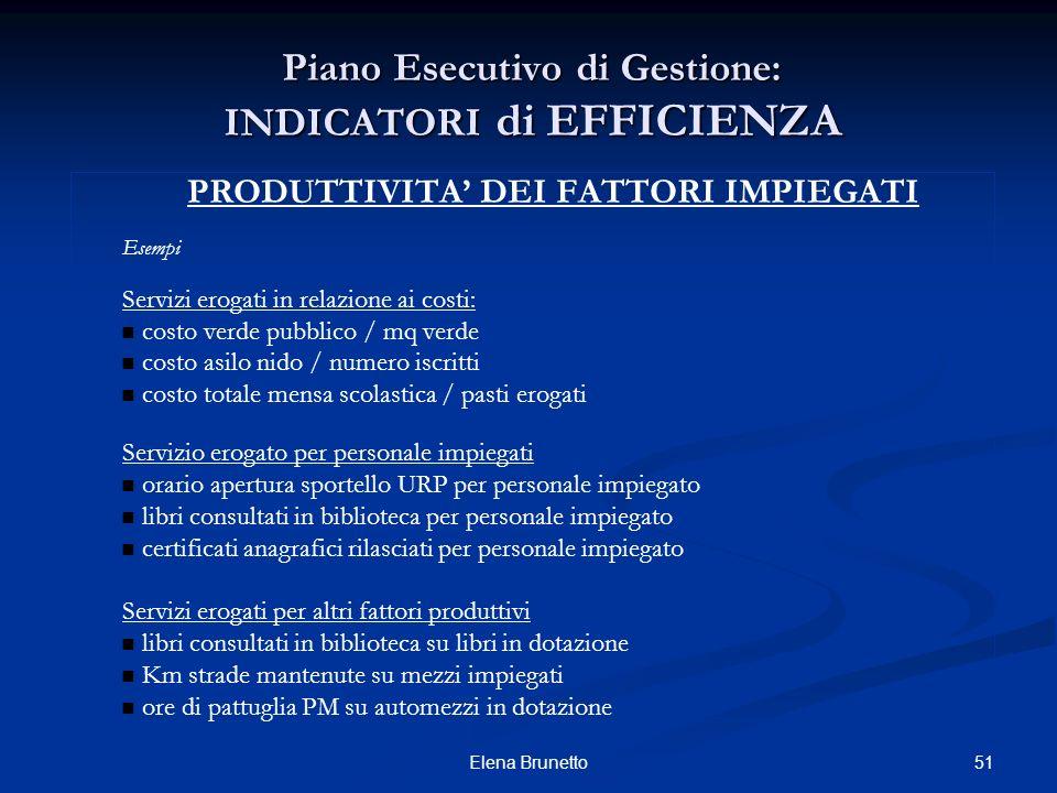 51Elena Brunetto Piano Esecutivo di Gestione: INDICATORI di EFFICIENZA PRODUTTIVITA DEI FATTORI IMPIEGATI Esempi Servizi erogati in relazione ai costi