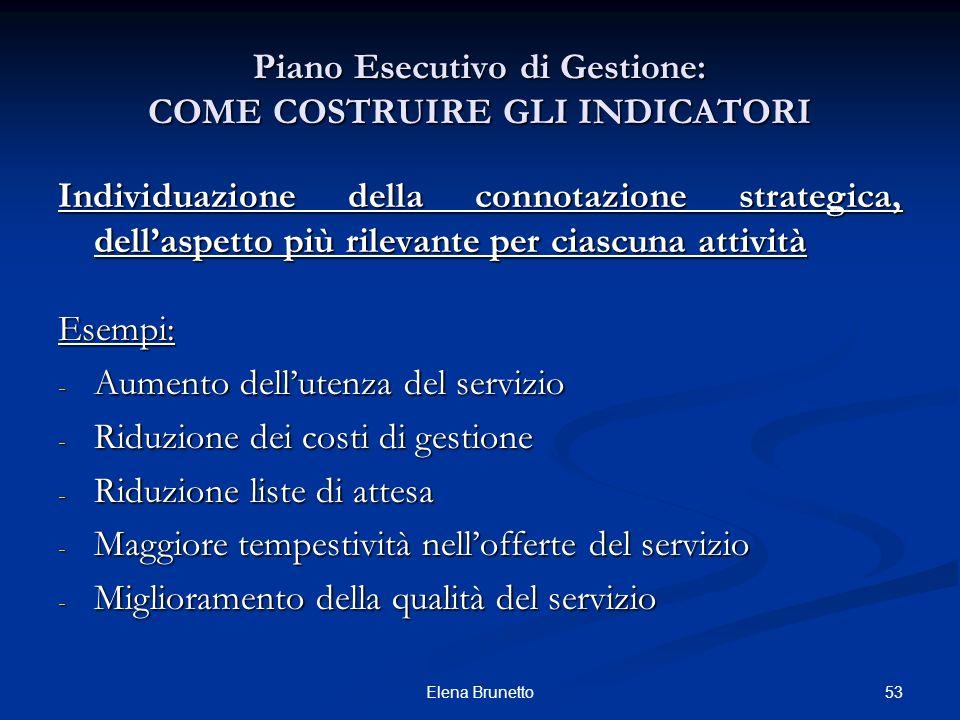 53Elena Brunetto Individuazione della connotazione strategica, dellaspetto più rilevante per ciascuna attività Esempi: - Aumento dellutenza del serviz