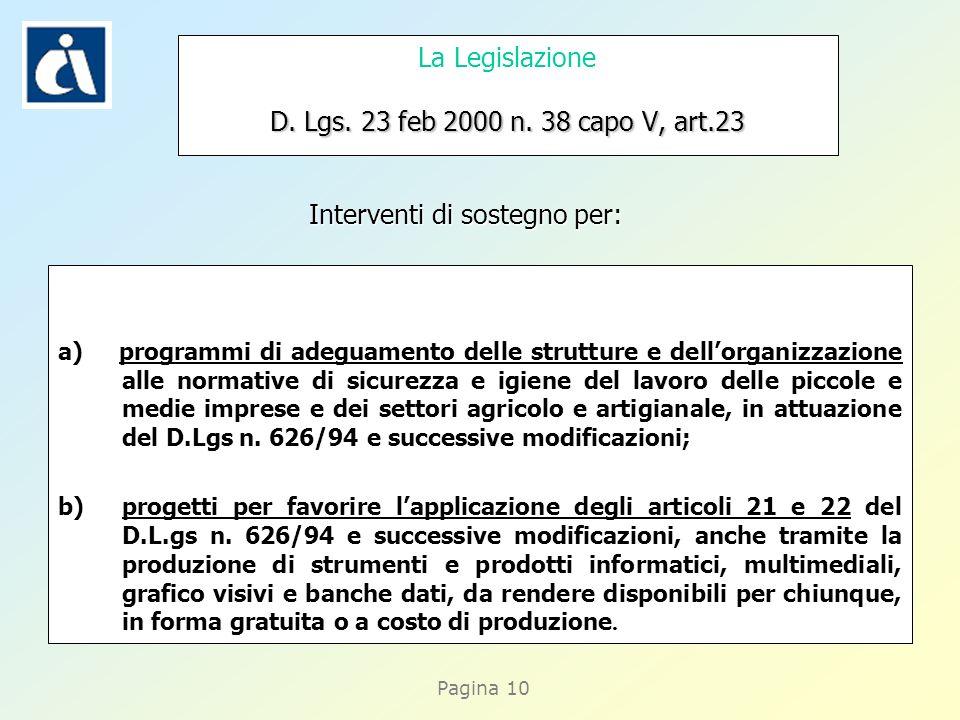 Pagina 10 D. Lgs. 23 feb 2000 n. 38 capo V, art.23 La Legislazione D. Lgs. 23 feb 2000 n. 38 capo V, art.23 a) programmi di adeguamento delle struttur