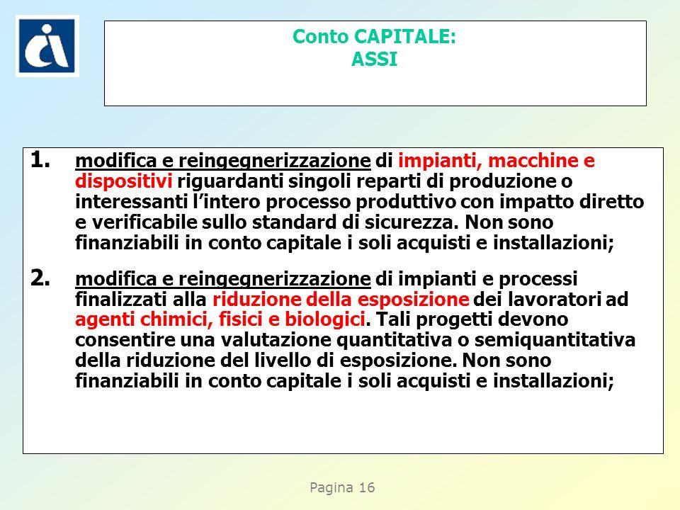 Pagina 16 Conto CAPITALE: ASSI 1. modifica e reingegnerizzazione di impianti, macchine e dispositivi riguardanti singoli reparti di produzione o inter