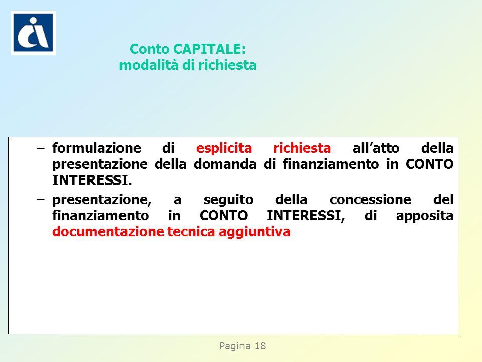 Pagina 18 –formulazione di esplicita richiesta allatto della presentazione della domanda di finanziamento in CONTO INTERESSI.