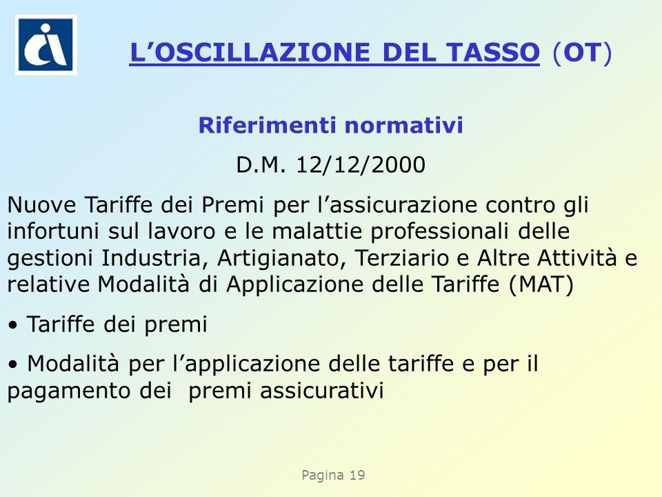 Pagina 19 Riferimenti normativi D.M. 12/12/2000 Nuove Tariffe dei Premi per lassicurazione contro gli infortuni sul lavoro e le malattie professionali