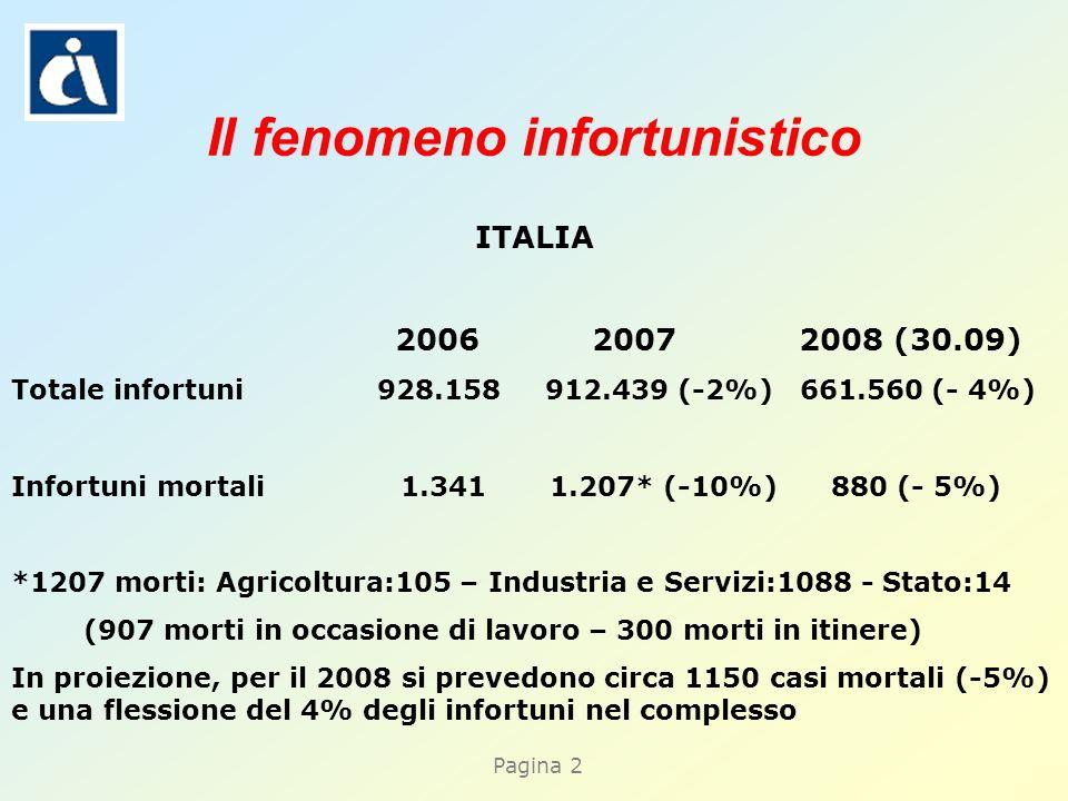 Pagina 2 Il fenomeno infortunistico ITALIA 2006 2007 2008 (30.09) Totale infortuni 928.158 912.439 (-2%) 661.560 (- 4%) Infortuni mortali 1.341 1.207* (-10%) 880 (- 5%) *1207 morti: Agricoltura:105 – Industria e Servizi:1088 - Stato:14 (907 morti in occasione di lavoro – 300 morti in itinere) In proiezione, per il 2008 si prevedono circa 1150 casi mortali (-5%) e una flessione del 4% degli infortuni nel complesso