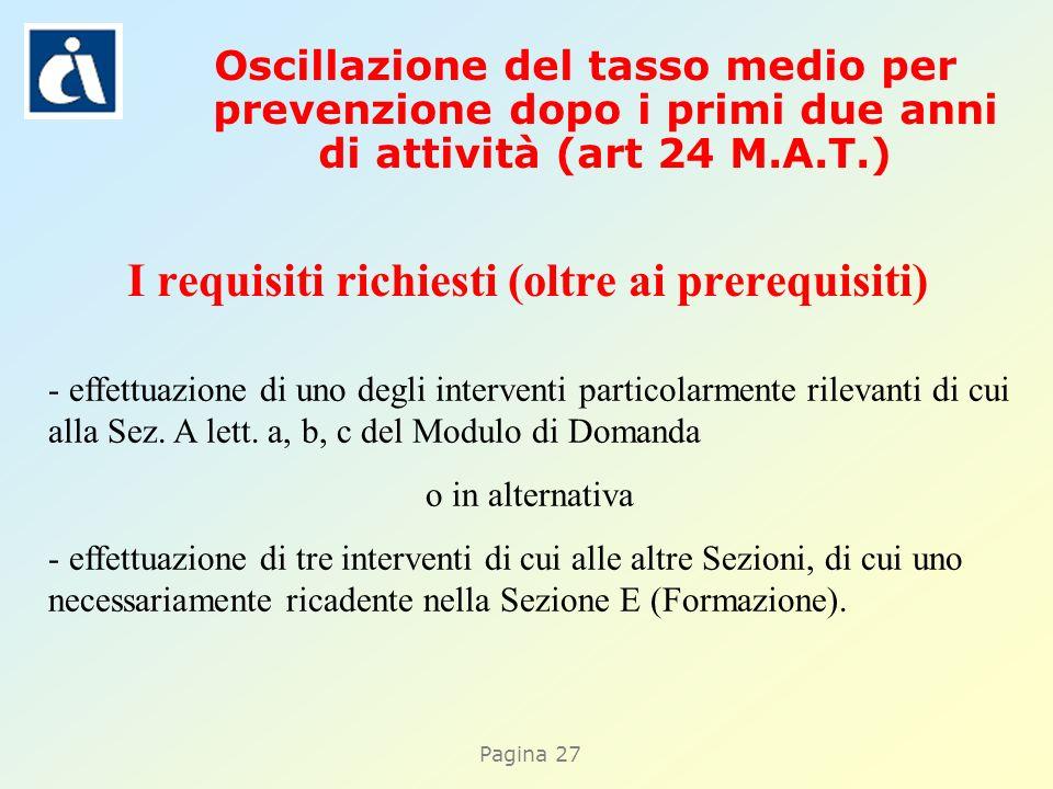 Pagina 27 I requisiti richiesti (oltre ai prerequisiti) - effettuazione di uno degli interventi particolarmente rilevanti di cui alla Sez. A lett. a,