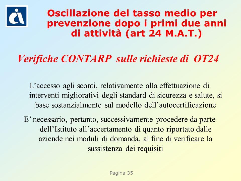 Pagina 35 Verifiche CONTARP sulle richieste di OT24 Laccesso agli sconti, relativamente alla effettuazione di interventi migliorativi degli standard d