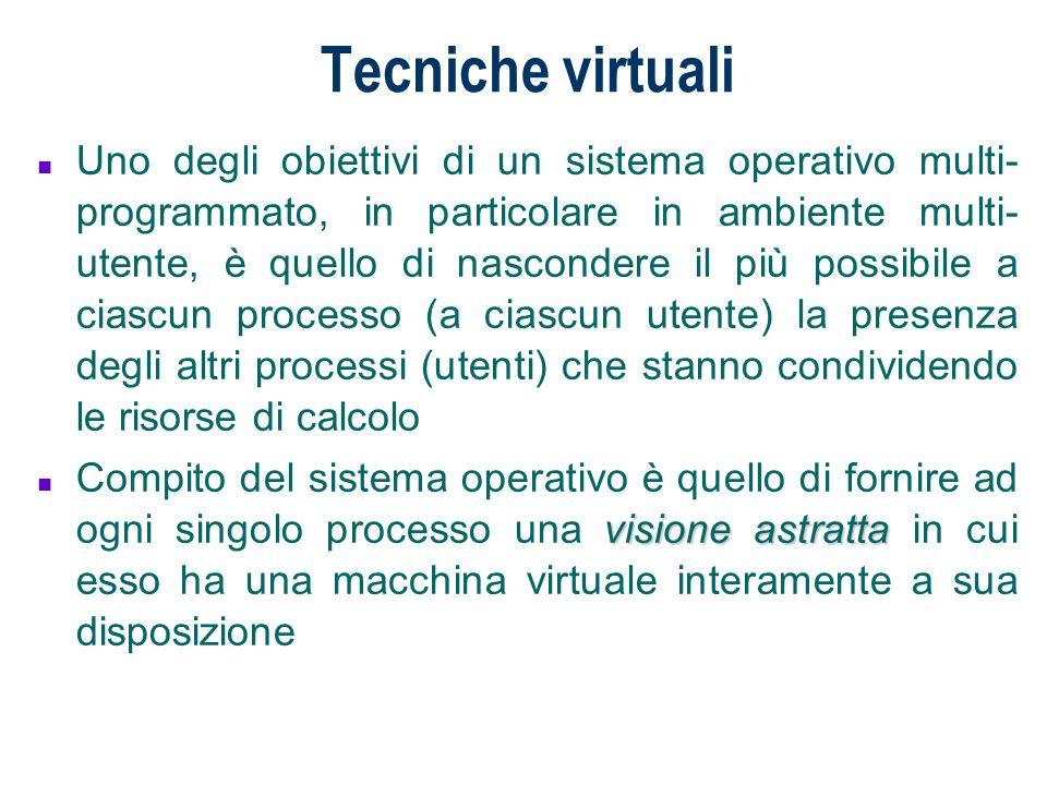 Tecniche virtuali n Uno degli obiettivi di un sistema operativo multi- programmato, in particolare in ambiente multi- utente, è quello di nascondere i