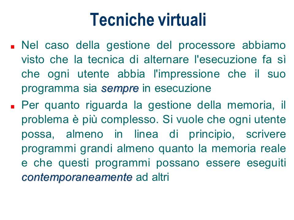 Tecniche virtuali sempre n Nel caso della gestione del processore abbiamo visto che la tecnica di alternare l'esecuzione fa sì che ogni utente abbia l
