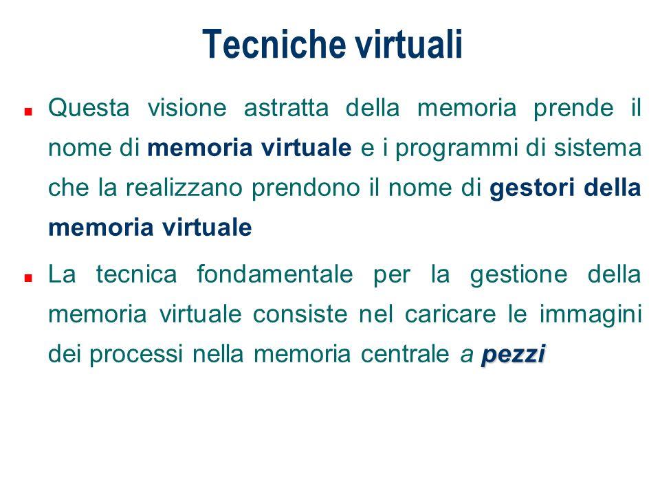 Tecniche virtuali n Questa visione astratta della memoria prende il nome di memoria virtuale e i programmi di sistema che la realizzano prendono il no