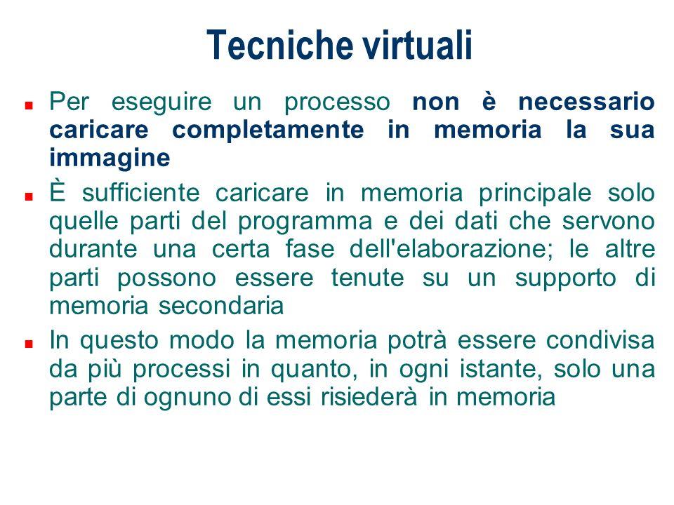 Tecniche virtuali n Per eseguire un processo non è necessario caricare completamente in memoria la sua immagine n È sufficiente caricare in memoria pr