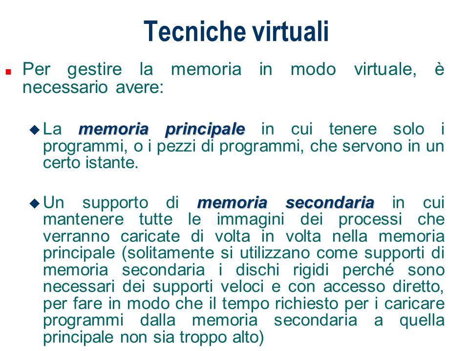 Tecniche virtuali n Per gestire la memoria in modo virtuale, è necessario avere: memoria principale u La memoria principale in cui tenere solo i progr
