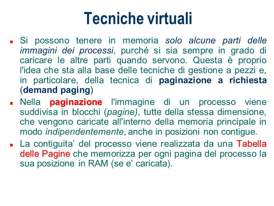 Tecniche virtuali n Si possono tenere in memoria solo alcune parti delle immagini dei processi, purché si sia sempre in grado di caricare le altre par