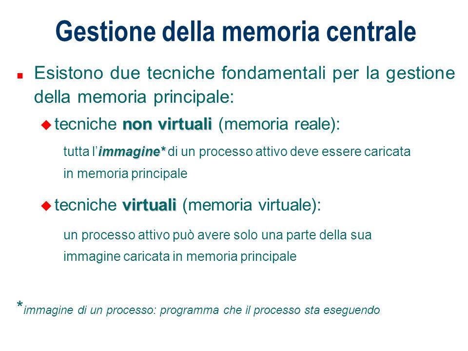 Gestione della memoria centrale n Esistono due tecniche fondamentali per la gestione della memoria principale: non virtuali u tecniche non virtuali (m