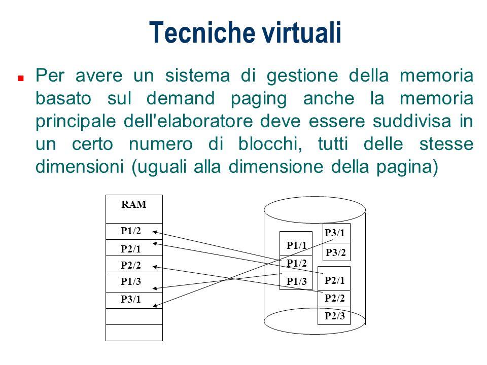 Tecniche virtuali n Per avere un sistema di gestione della memoria basato sul demand paging anche la memoria principale dell'elaboratore deve essere s