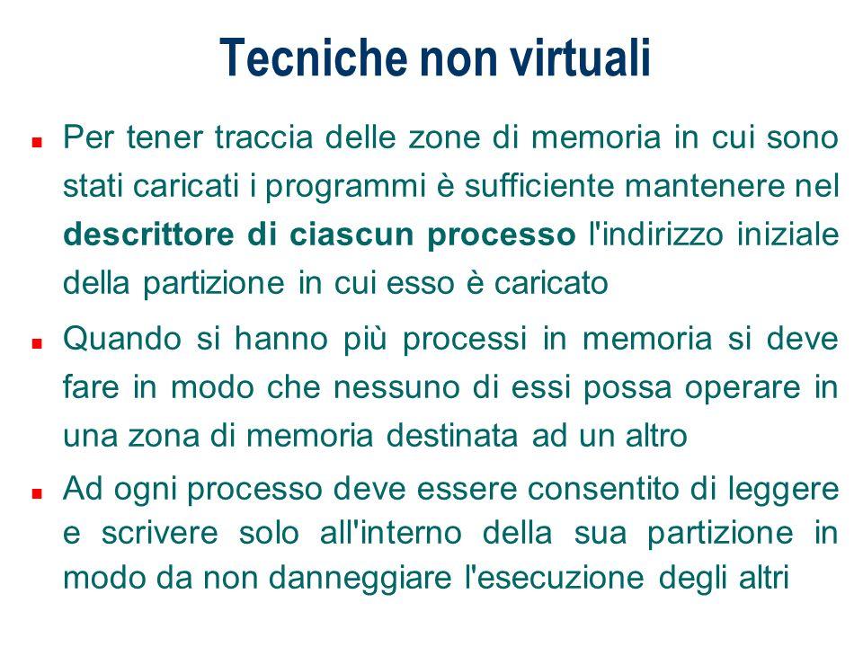 Tecniche non virtuali n Per tener traccia delle zone di memoria in cui sono stati caricati i programmi è sufficiente mantenere nel descrittore di cias