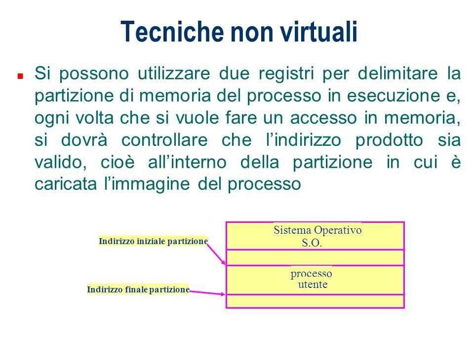 Tecniche non virtuali n Si possono utilizzare due registri per delimitare la partizione di memoria del processo in esecuzione e, ogni volta che si vuo