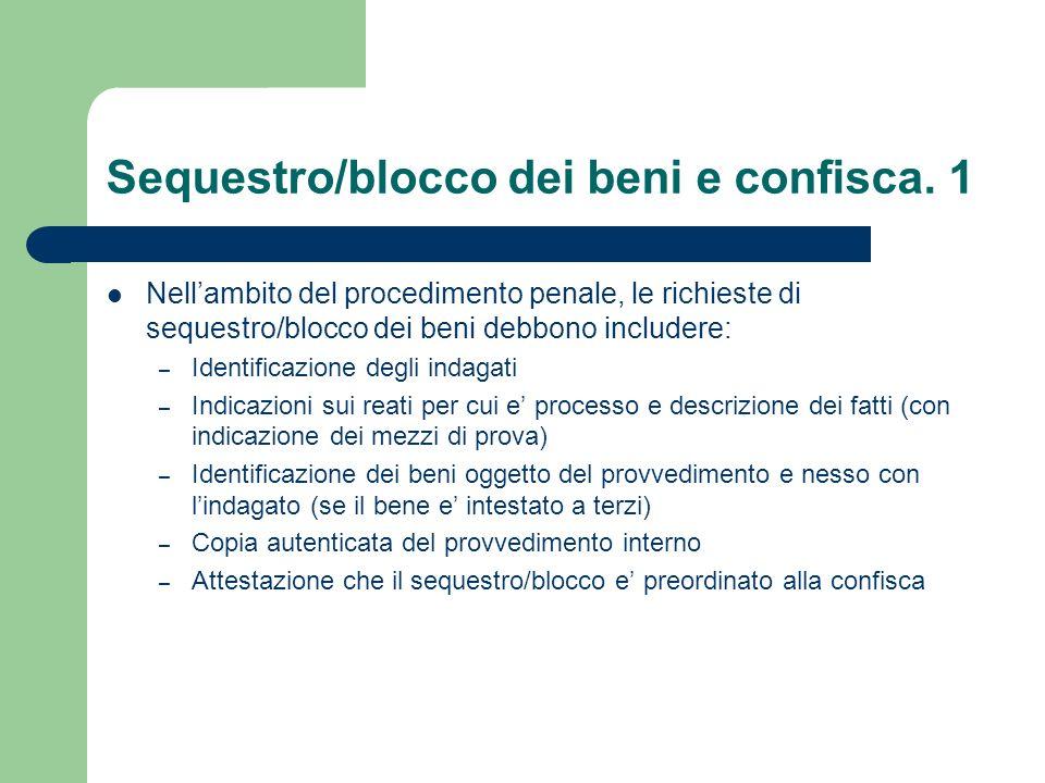 Sequestro/blocco dei beni e confisca. 1 Nellambito del procedimento penale, le richieste di sequestro/blocco dei beni debbono includere: – Identificaz