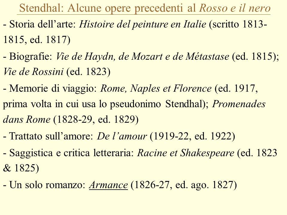 Stendhal: Alcune opere precedenti al Rosso e il nero - Storia dellarte: Histoire del peinture en Italie (scritto 1813- 1815, ed.