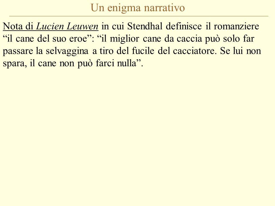 Un enigma narrativo Nota di Lucien Leuwen in cui Stendhal definisce il romanziere il cane del suo eroe: il miglior cane da caccia può solo far passare la selvaggina a tiro del fucile del cacciatore.