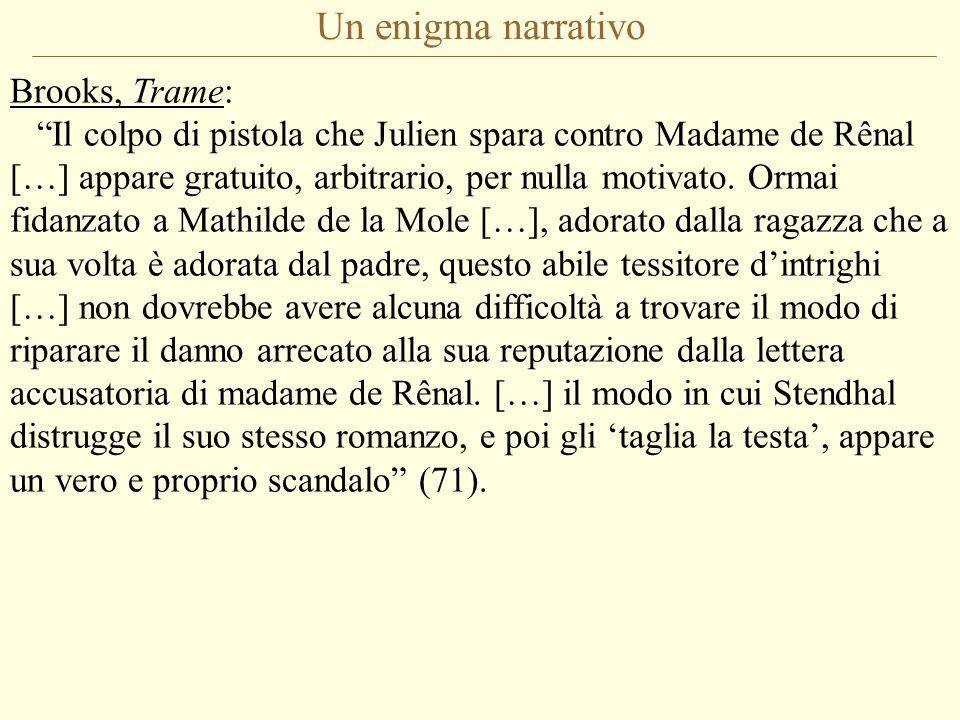 Un enigma narrativo Brooks, Trame: Il colpo di pistola che Julien spara contro Madame de Rênal […] appare gratuito, arbitrario, per nulla motivato.