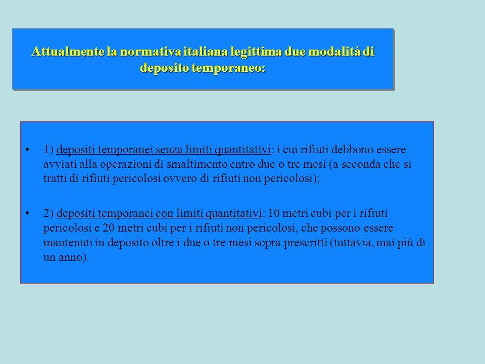 1) depositi temporanei senza limiti quantitativi: i cui rifiuti debbono essere avviati alla operazioni di smaltimento entro due o tre mesi (a seconda