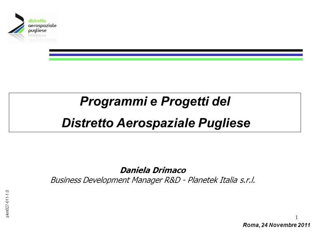 1 Daniela Drimaco Business Development Manager R&D - Planetek Italia s.r.l. pkm027-611-1.0 Programmi e Progetti del Distretto Aerospaziale Pugliese Ro
