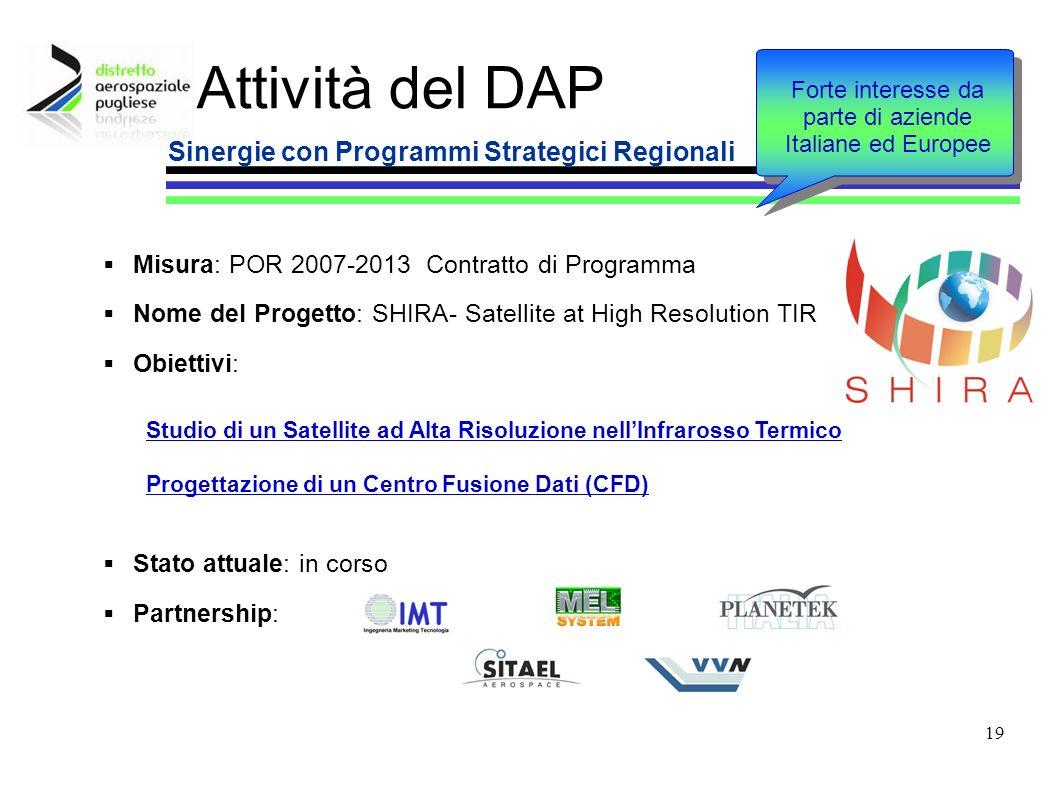 19 Attività del DAP Sinergie con Programmi Strategici Regionali Misura: POR 2007-2013 Contratto di Programma Nome del Progetto: SHIRA- Satellite at Hi