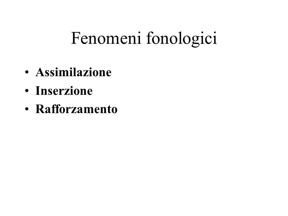 Fenomeni fonologici Assimilazione Inserzione Rafforzamento