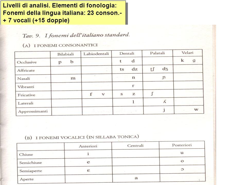 Livelli di analisi. Elementi di fonologia: Fonemi della lingua italiana: 23 conson.- + 7 vocali (+15 doppie)