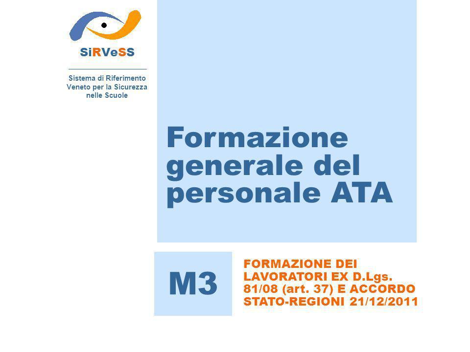 Formazione generale del personale ATA SiRVeSS Sistema di Riferimento Veneto per la Sicurezza nelle Scuole M3 FORMAZIONE DEI LAVORATORI EX D.Lgs. 81/08