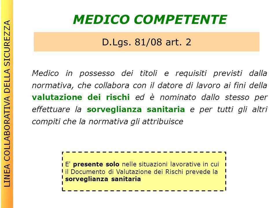 MEDICO COMPETENTE Medico in possesso dei titoli e requisiti previsti dalla normativa, che collabora con il datore di lavoro ai fini della valutazione
