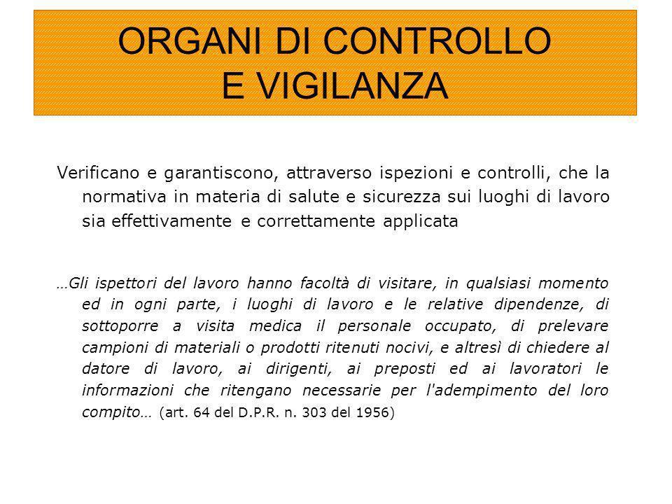 ORGANI DI CONTROLLO E VIGILANZA Verificano e garantiscono, attraverso ispezioni e controlli, che la normativa in materia di salute e sicurezza sui luo